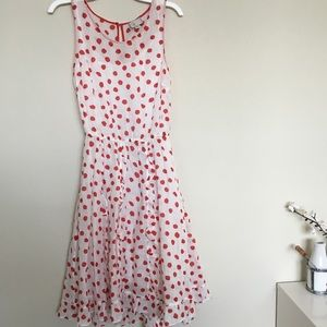Anthropologie white and red polka dots dress